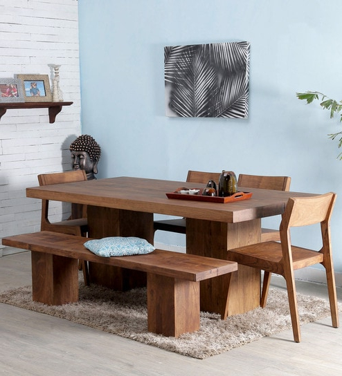 Preferred Portland Solid Wood Six Seater Dining Set In Premium Acacia Finish Within Portland 78 Inch Dining Tables (View 13 of 20)