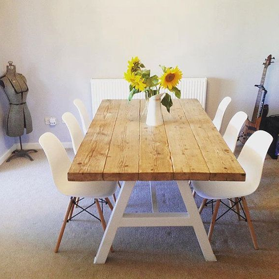 Preferred Reclaimed Industrial Chic A Frame 6 8 Seater Solid Wood & Metal Regarding White Dining Tables 8 Seater (Gallery 17 of 20)