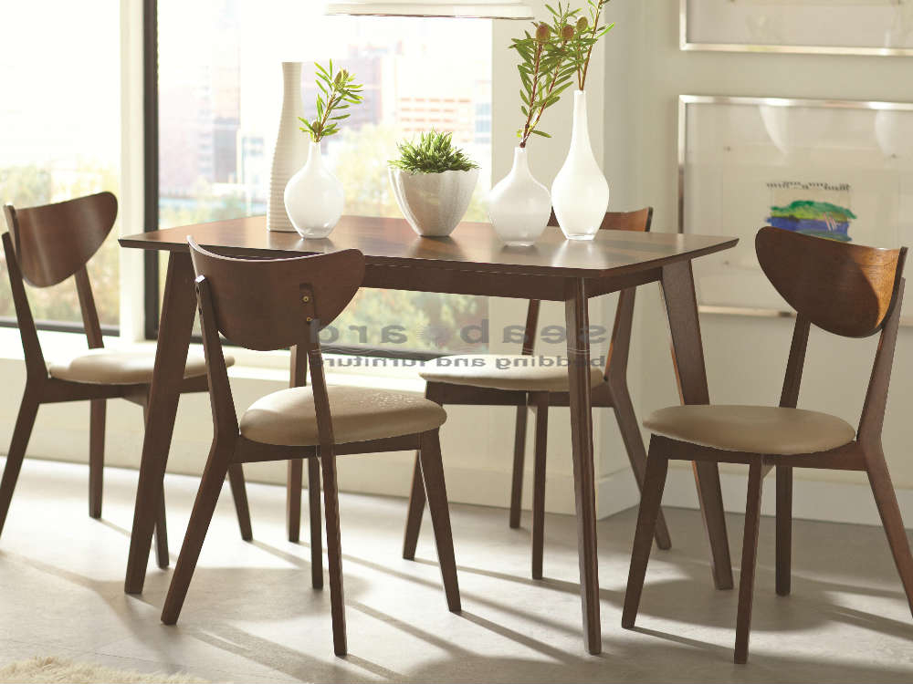 Preferred Retro Glass Dining Tables And Chairs With Regard To Kersey Mid Century Dining Table Set 5 Pc 103061 (View 12 of 20)