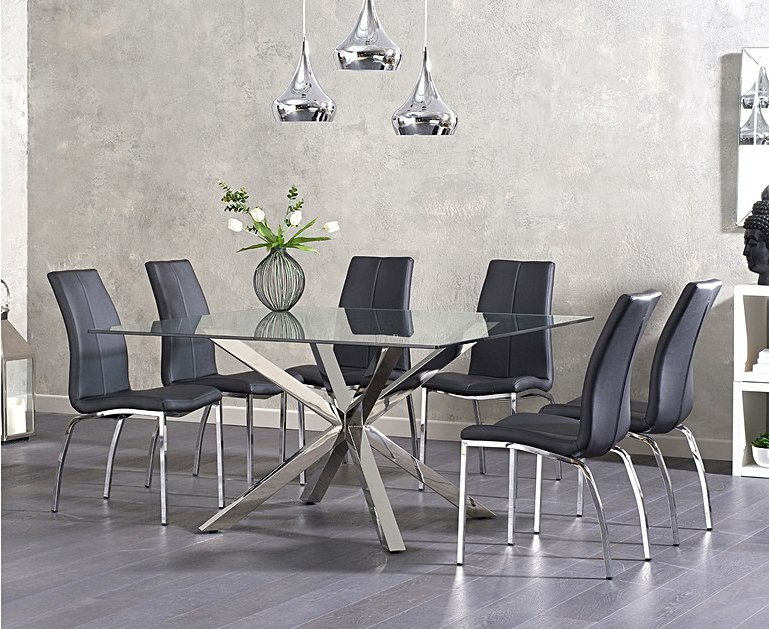 Preferred Rio Dining Tables For Ex Display Rio Square Glass Dining Table With 4 White Cavello Chairs (Gallery 11 of 20)