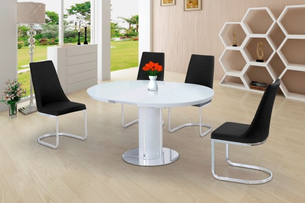 Preferred Small White Extending Dining Tables Inside Buy Space Saving White Gloss Extending Round Dining Table (View 4 of 20)