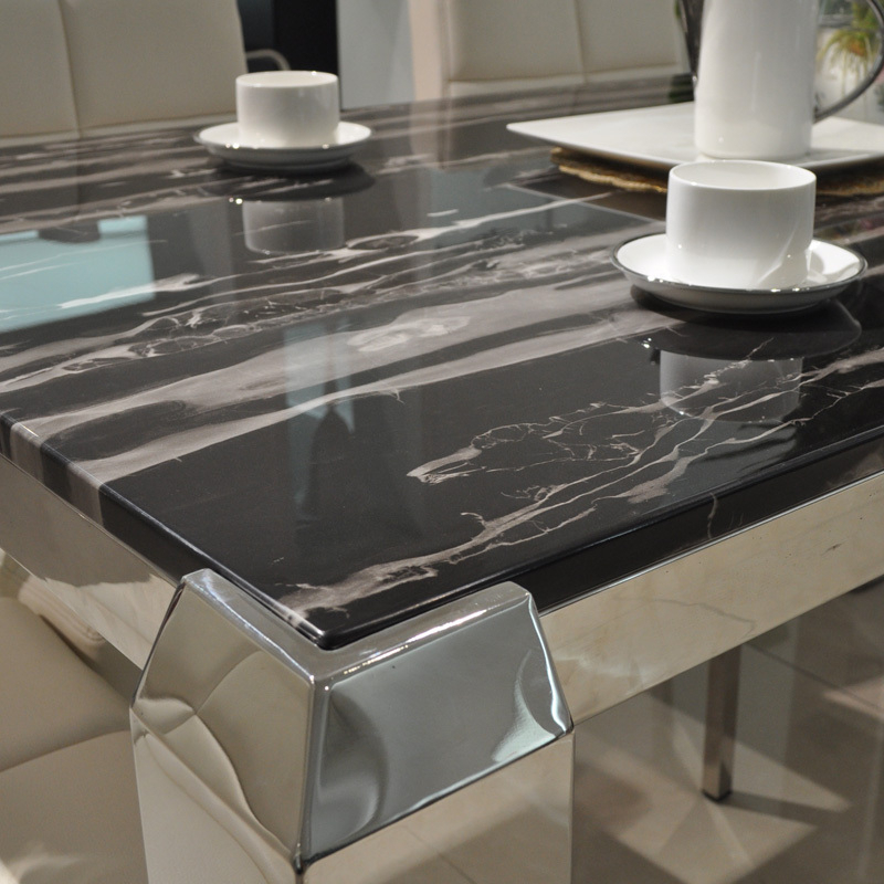 Preferred Solid Marble Dining Tables Intended For Mobo Si Simple White Marble Dining Table Stainless Steel Dragon Foot (View 6 of 20)