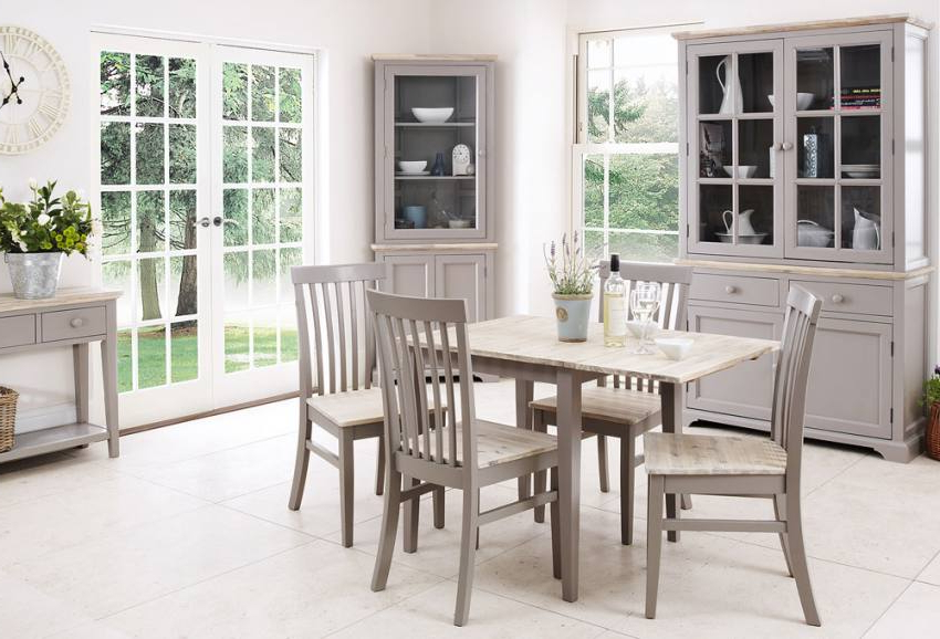 Preferred Statement Furniture – Florence Dove Grey Matt Painted & Washed Within Florence Dining Tables (Gallery 1 of 20)