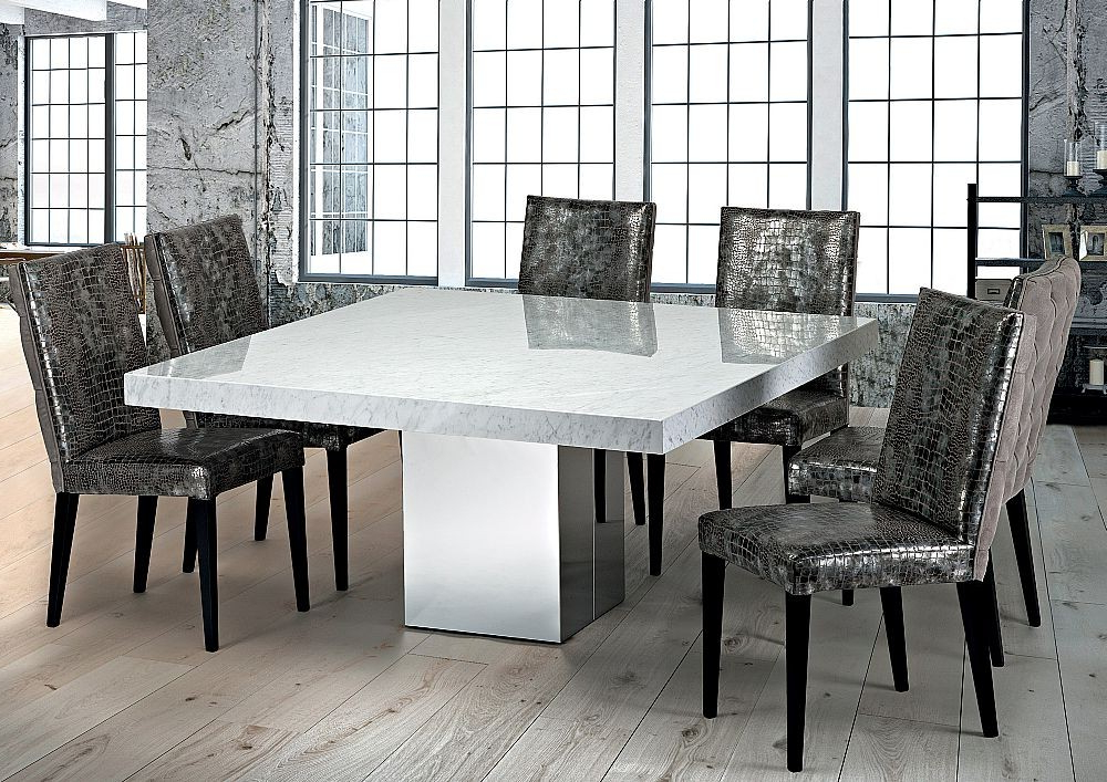 Preferred Stone Dining Tables Intended For Stone International – 3266/sq – Dining Table – Square – Cortina (Gallery 9 of 20)