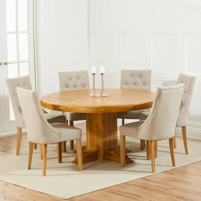 Preferred Trina Solid Oak Round Dining Table With 6 Primly Beige Chairs Regarding Oak Round Dining Tables And Chairs (View 16 of 20)