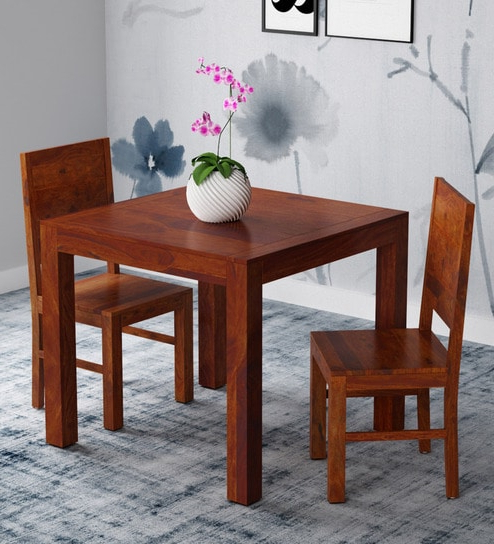 Preferred Two Seat Dining Tables Inside Buy Oriel Solid Wood Two Seater Dining Set In Honey Oak Finish (Gallery 13 of 20)