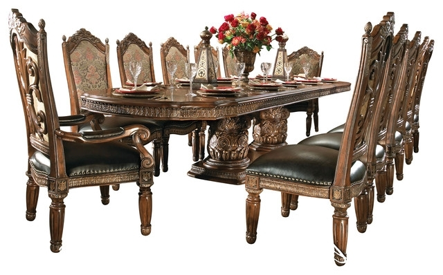 Preferred Valencia Side Chairs With Regard To 8 Piece Villa Valencia Dining Room Table Set With China – Victorian (View 13 of 20)