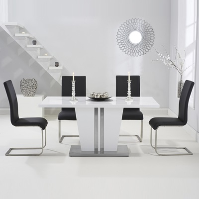 Preferred Vegas High Gloss White Dining Table With 6 Milan Black Chairs Throughout White Dining Tables With 6 Chairs (View 9 of 20)