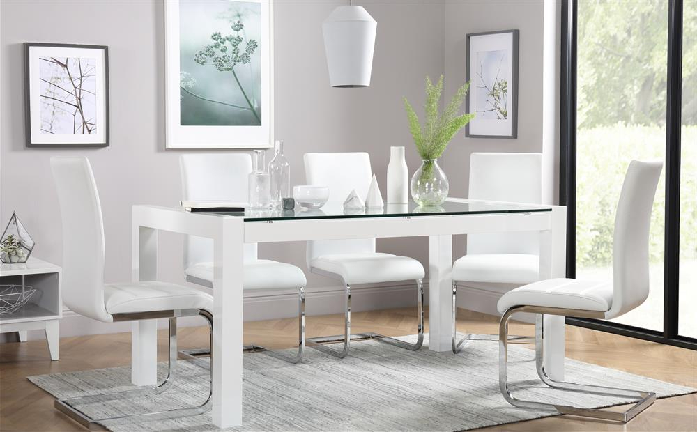 Preferred Venice White High Gloss And Glass Dining Table And 4 Chairs Set With Regard To Perth White Dining Chairs (View 14 of 20)