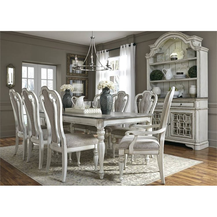 Preferred White Dining Sets Intended For Antique White 5 Piece Dining Set With Upholstered Chairs – Magnolia (Gallery 10 of 20)