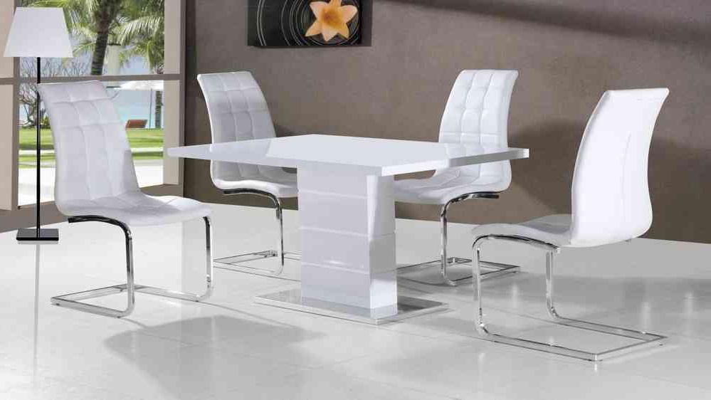 Preferred White High Gloss Dining Tables Pertaining To Full White High Gloss Dining Table And 4 Chairs – Homegenies (View 9 of 20)