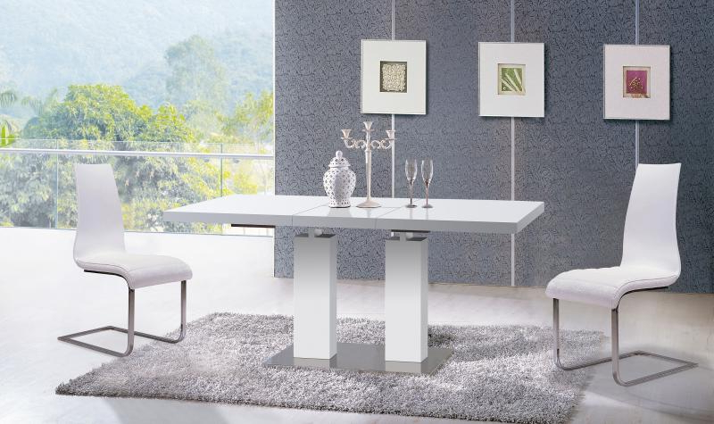 Preferred White Ultra Modern Dining Table W/extension Contemporary At Home Usa In Delfina 7 Piece Dining Sets (View 16 of 20)