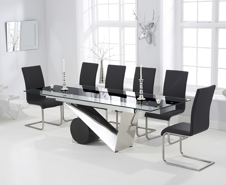 Pretoria 170Cm Extending Black Glass Dining Table With Malaga Chairs Inside Fashionable Black Extending Dining Tables (View 13 of 20)