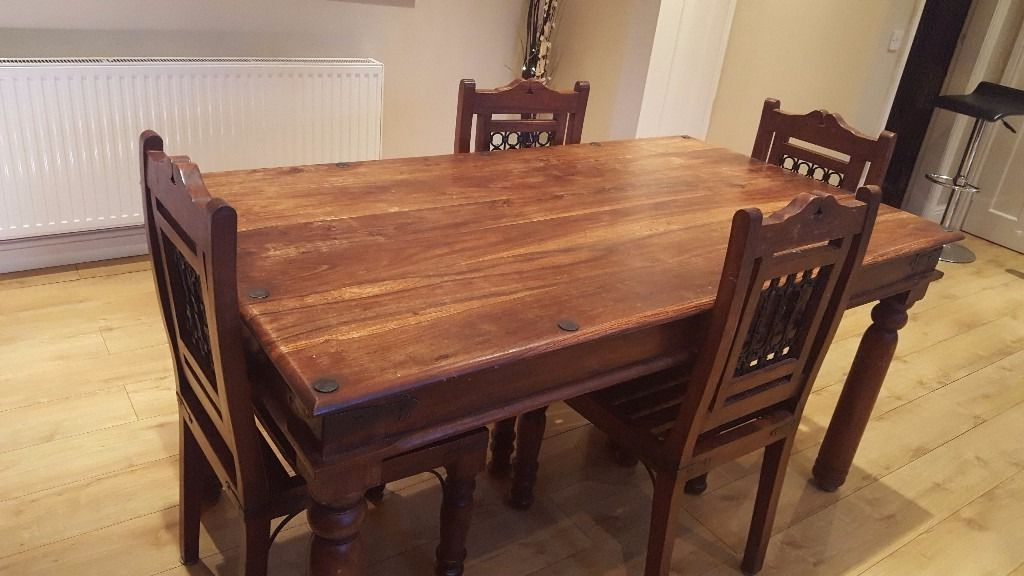 Price Lowered! Indian Rosewood Sheesham Dining Table And 4 Chairs In Well Liked Indian Dining Room Furniture (Gallery 13 of 20)