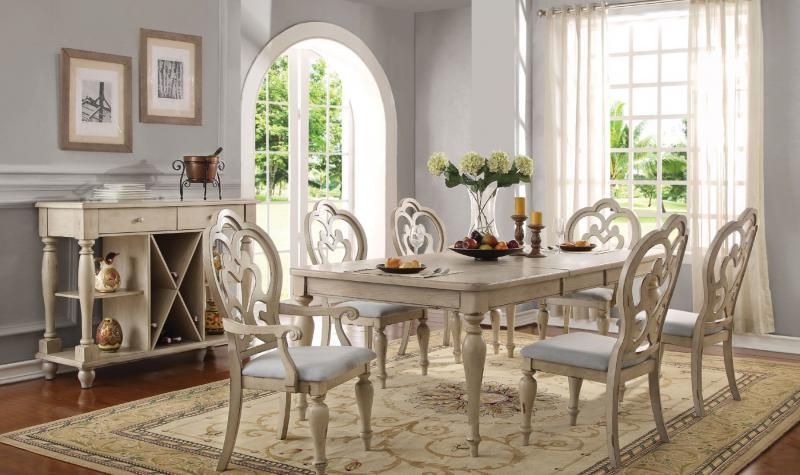 Provence Dining Tables Throughout Most Popular Acme 66060 Abelin Provence Antique White Dining Table Set 7pcs (View 12 of 20)