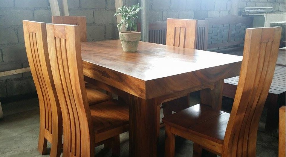 Pure Molave Wood 6 Seater Dining Set – Buy Wooden Dining Set Product In Trendy Wooden Dining Sets (Gallery 6 of 20)