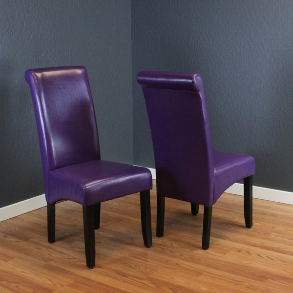 Purple Faux Leather Dining Chairs Pertaining To Most Current Shop Monsoon Milan Boysenberry Faux Leather, Foam, And Espresso (View 6 of 20)