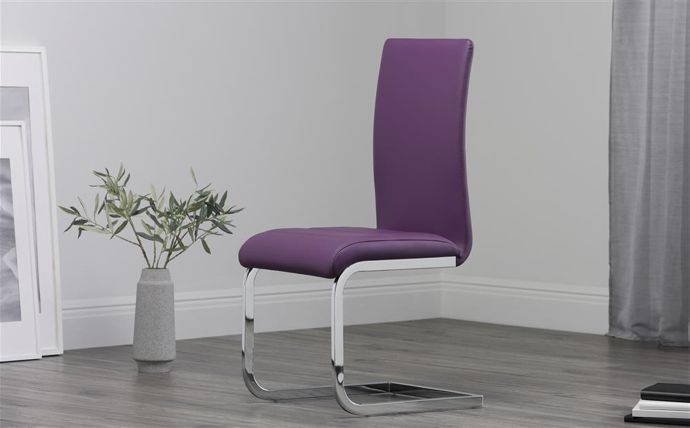 Purple Faux Leather Dining Chairs Pertaining To Most Recent 2 4 6 8 Perth Purple Leather Dining Room Chairs (View 9 of 20)