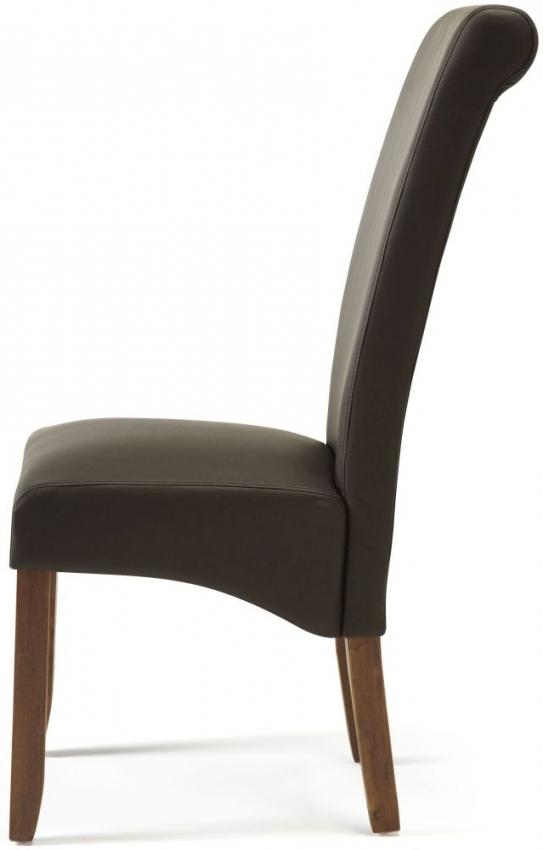 Purple Faux Leather Dining Chairs Throughout Most Recent Buy Serene Kingston Brown Faux Leather Dining Chair With Walnut Legs (View 5 of 20)