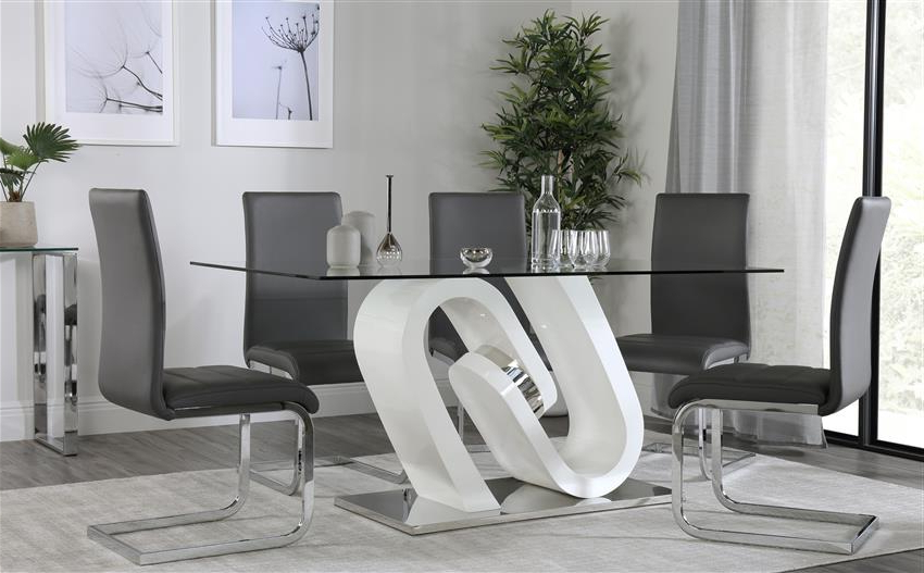 Quant White High Gloss And Glass Dining Table With 6 Perth Grey Inside Latest Perth Glass Dining Tables (View 16 of 20)