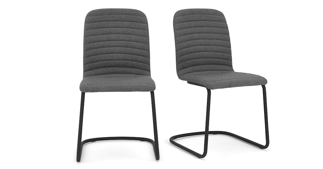 Quilted Black Dining Chairs Intended For Widely Used Set Of 2 Cata Cantilever Dining Chairs, Quilted Marl Grey (View 10 of 20)