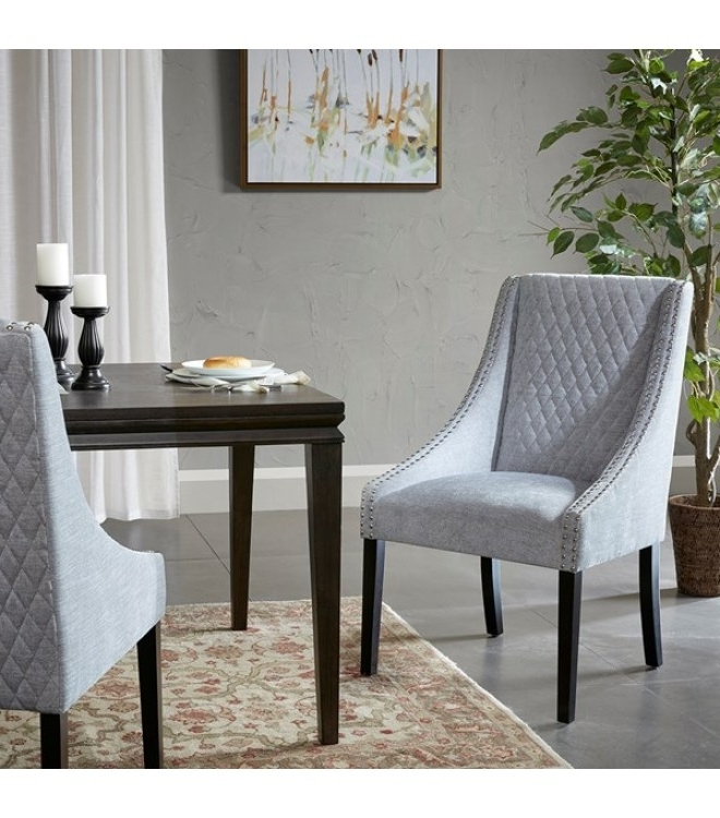 Quilted Brown Dining Chairs Throughout Well Liked Silver Grey Quilted Pattern Dining Chair Set Of  (View 14 of 20)