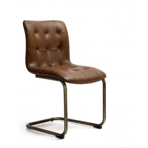 Quilted Brown Dining Chairs Within Most Recently Released Industrial Dining Chair With Quilted Back And Seat (View 11 of 20)