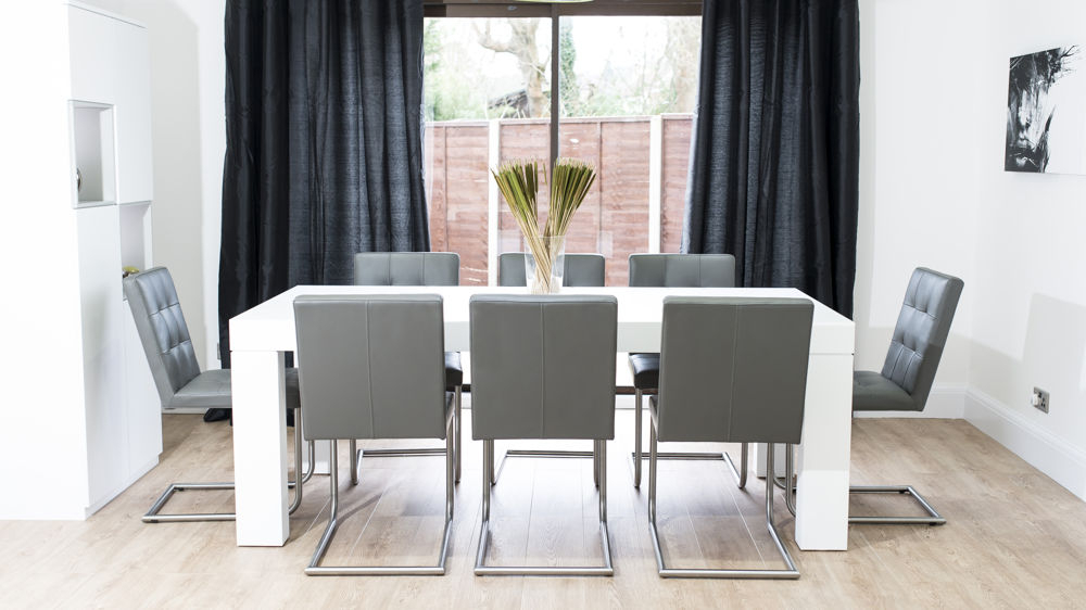 Real Leather Quilted Chairs Regarding Dining Tables For Eight (View 14 of 20)