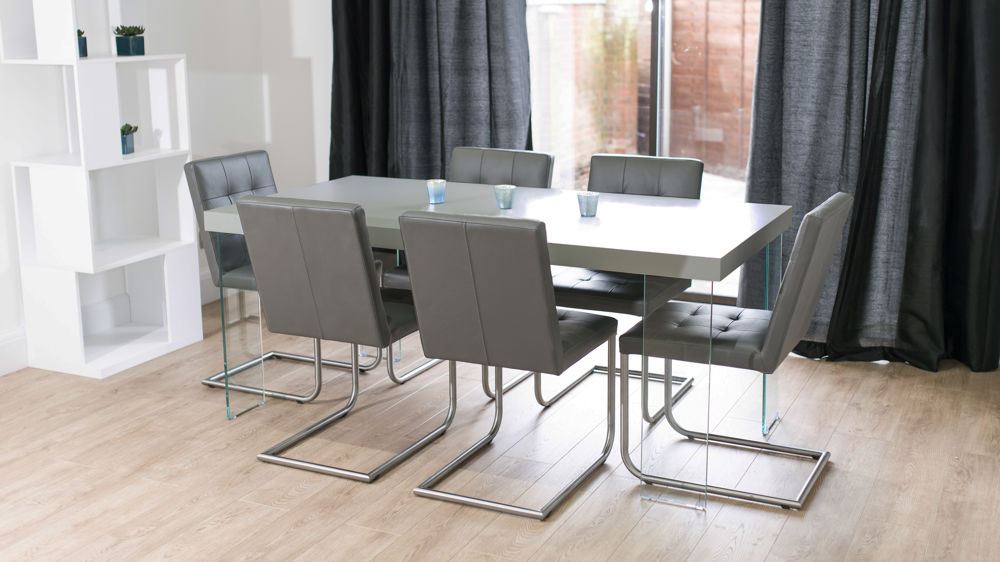 Real Leather Quilted Dining With Well Known Grey Dining Tables (Gallery 9 of 20)