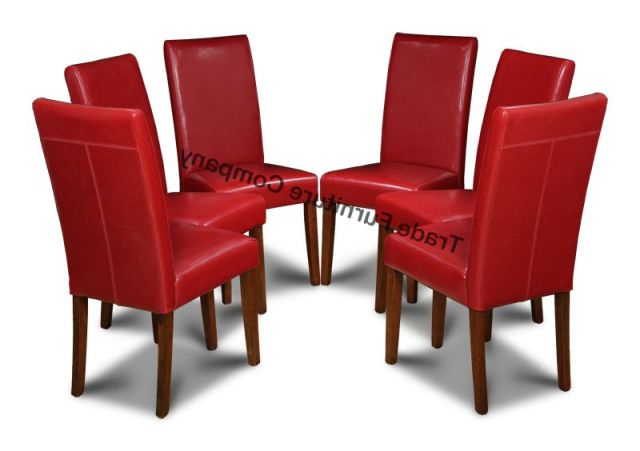 Real Red Leather Set Of 6 Dining Chairs Regarding Most Current Leather Dining Chairs (Gallery 5 of 20)