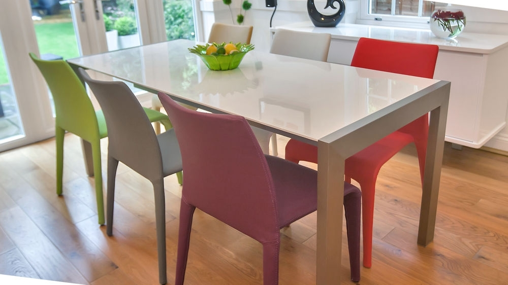 Recent 11. Different Colour Mismatched Chairs Barletto Clear Glass Dining Table Pertaining To Colourful Dining Tables And Chairs (Gallery 4 of 20)