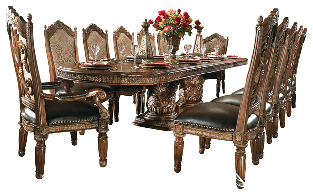 Recent 7 Piece Villa Valencia Rectangular Dining Room Set – Victorian Throughout Valencia 5 Piece Round Dining Sets With Uph Seat Side Chairs (Gallery 3 of 20)