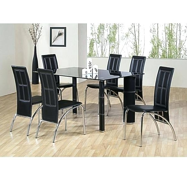 Recent Black Glass Extending Dining Table 6 Chairs Black Extendable Dining With Regard To Black Glass Dining Tables And 6 Chairs (View 20 of 20)