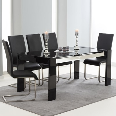 Recent Black Gloss Dining Tables Throughout Selina Black Gloss And Glass Dining Table With 6 Milan Black Chairs (View 6 of 20)