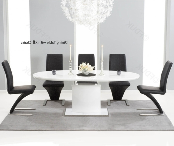Recent Black High Gloss Dining Chairs With Mark Harris Seville White High Gloss Dining Set – 160Cm Oval With  (View 16 of 20)