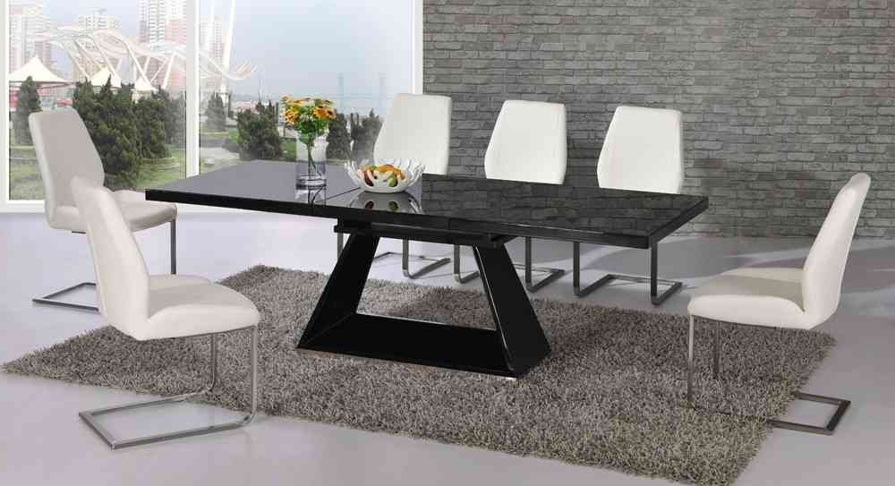 Recent Black High Gloss Dining Tables Inside Black Glass Extending High Gloss Dining Table And 6 White Chairs (View 17 of 20)