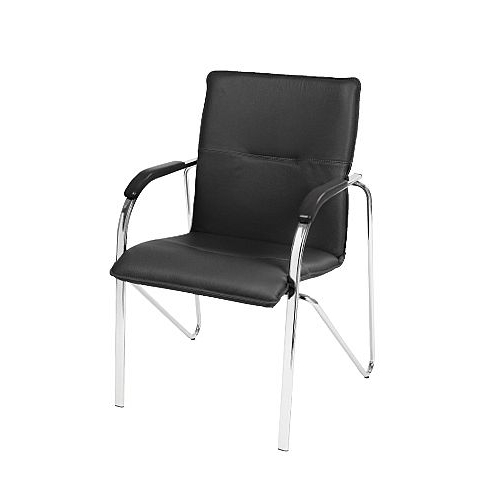 Recent Black Leather Look Boardroom Stacking Chair Samba – Huntoffice (View 20 of 20)