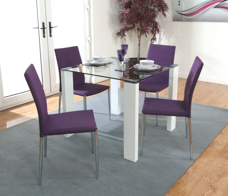 Recent Buy Acton Dining Set With 4 Purple Chairs The Furn Shop Intended For Dining Tables And Purple Chairs (Gallery 5 of 20)