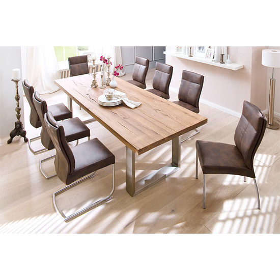 Recent Capello Solid Oak 8 Seater Dining Table With Charles Chairs Intended For Eight Seater Dining Tables And Chairs (View 5 of 20)
