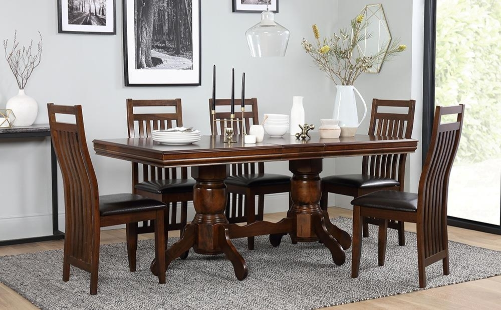 Recent Chatsworth Extending Dark Wood Dining Table And 6 Java Chairs Set Intended For Black Wood Dining Tables Sets (View 15 of 20)
