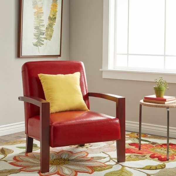 Recent Clay Side Chairs For Shop Clay Alder Home Roadster Burnt Red Leather Lounge Chair – Free (View 17 of 20)