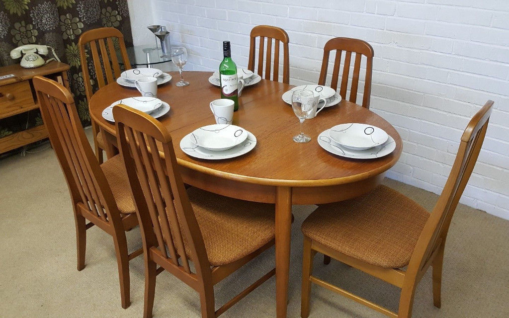 Recent Danish Style Dining Tables Regarding Vintage Retro 70's Danish Style Jentique Extending Dining Table & 6 (Gallery 12 of 20)