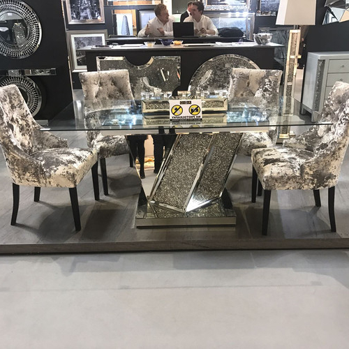 Recent Diamond Crush, Mirrored, Venetian Round Marble Dining Table Sale, Uk Pertaining To Mirror Glass Dining Tables (View 18 of 20)