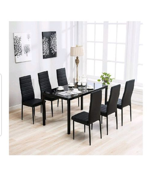 Recent Dining Tables Black Glass Within Mecor 7 Piece Dining Table Set 6 Chairs Black Glass Metal Kitchen (View 19 of 20)