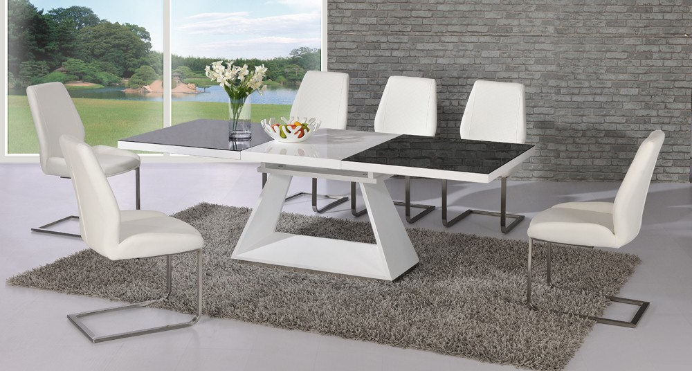Recent Extending Glass Dining Tables And 8 Chairs Within Amsterdam Glass And Gloss Extending White And Black Dining (View 11 of 20)