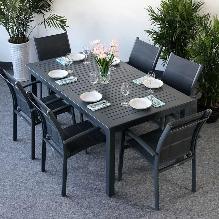 Recent Garden Table Set Virginia Grey – 6 Person Aluminium & Glass With Garden Dining Tables (Gallery 3 of 20)