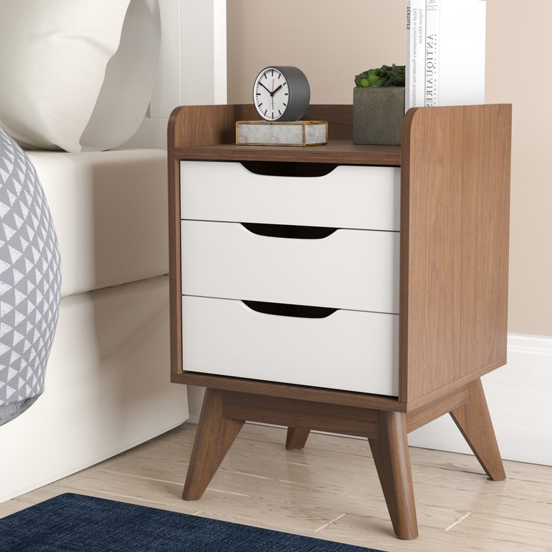Recent George Oliver Gavin Wood 3 Drawer Nightstand & Reviews (View 14 of 20)