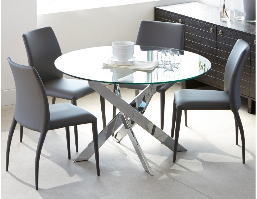 Recent Glass And Chrome Dining Tables And Chairs Pertaining To Ibiza – Round Glass And Chrome Dining Table 47'' – Chrome (View 7 of 20)