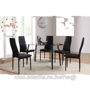 Recent Glass Dining Tables And Leather Chairs Within Modern Oval Shape Black Top Glass Dining Table With Leather Chairs (View 16 of 20)