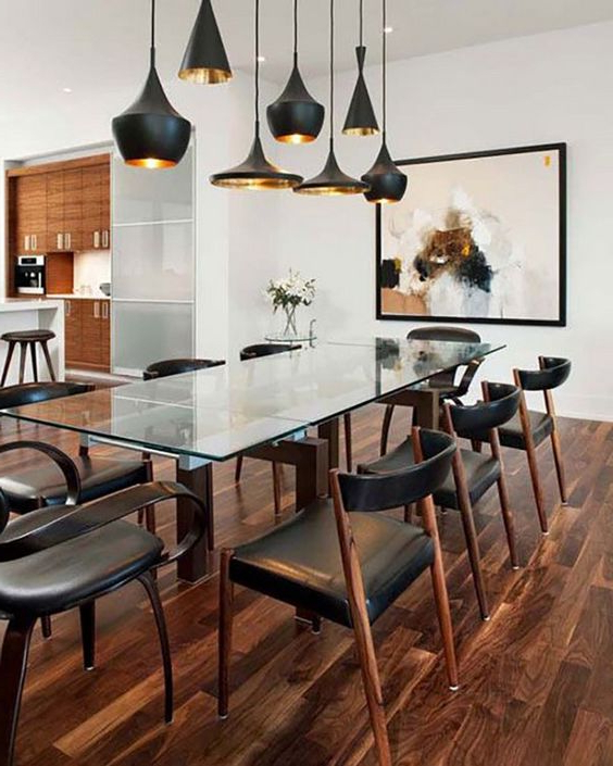 Recent Glass Dining Tables With Wooden Legs Within 30 Ways To Incorporate A Glass Dining Table Into Your Interior (View 17 of 20)